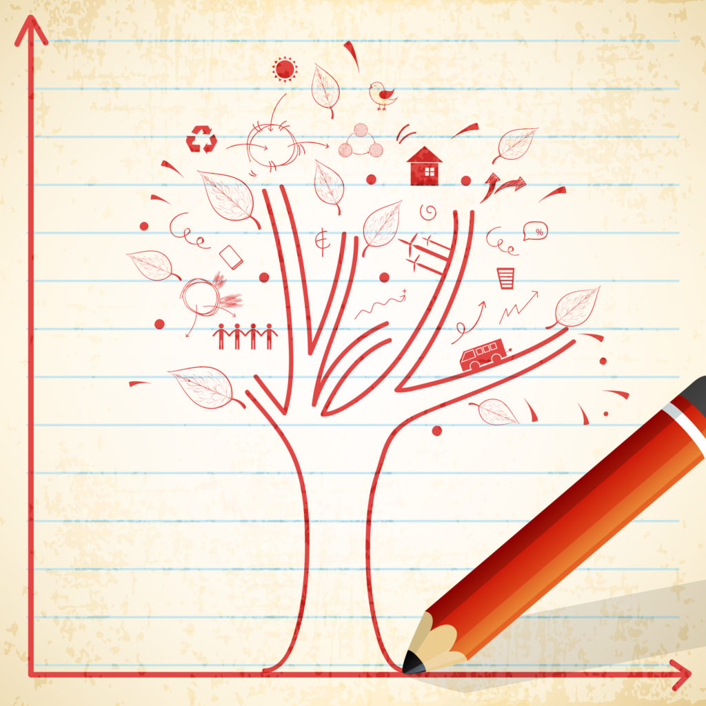 ecological-infographic-template-with-illustration-of-a-tree-and-other-elements-drawn-by-a-pencil-on-notebook-paper-background