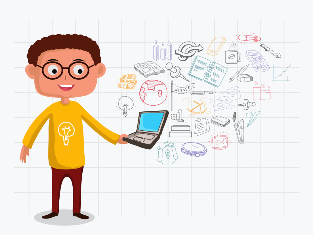 illustration-of-a-man-holding-laptop-with-various-colorful-business-infographic-elements-created-on-notebook-paper-background_L