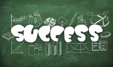 stylish-text-success-with-various-busines-infographic-elements-created-by-white-chalk-on-green-chalkboard-background